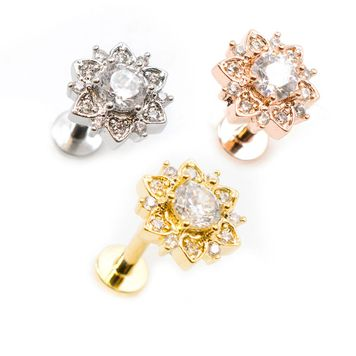 Paved CZ Flower and Round CZ Center Flat Back Internally Threaded Labret 16ga