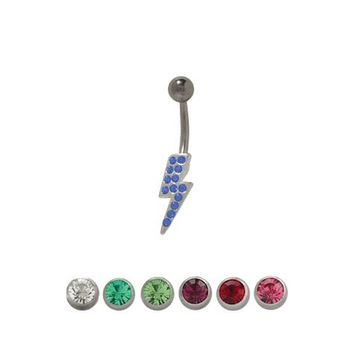 Lightning Bolt Belly Ring with Cz Jewels-14 gauge