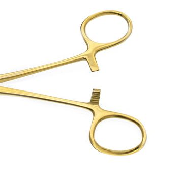LionGothic Slotted Forceps Tool Surgical Steel Gold Anodized