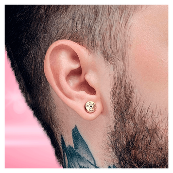 Internally Threaded Labret Ear Cartilage Stud with Bullet Back Casing Design Surgical Steel 16ga