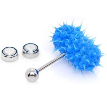 Lix Silicone Spikes Vibrator Tongue Ring Blue 14G