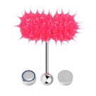 Lix Silicone Spikes Vibrator Tongue Ring Hot Pink 14G