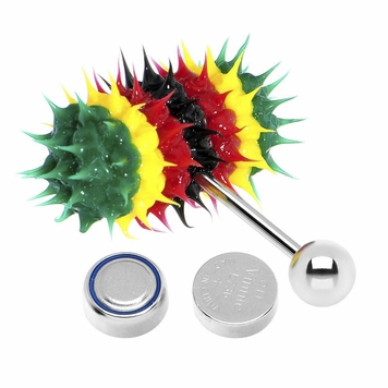 Lix Silicone Spikes Vibrator Tongue Ring Rasta Colors 14G