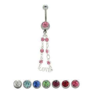 14 gauge Love Dangler Navel Ring