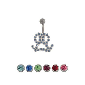 14 gauge Male Symbol Belly Ring with CZ Jewels