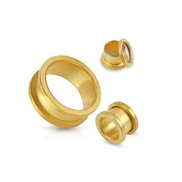 Pair of Matte Gold IP Over 316L Surgical Steel Screw Fit Tunnel - 12 Sizes to Choose