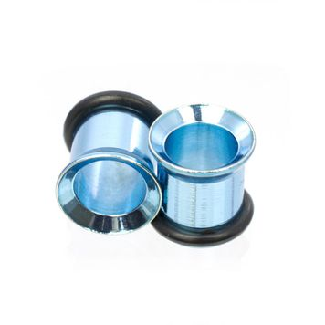 Pair of Anodized Metallic Aqua O-Ring Tunnels- Surgical Steel