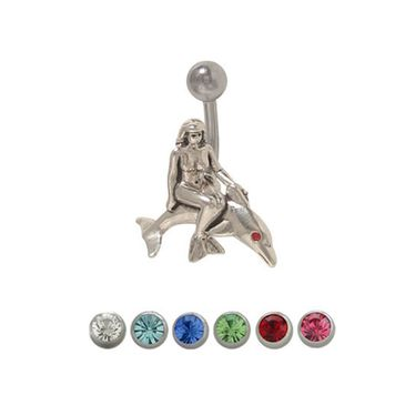 Mermaid Dolphin Belly Ring Surgical Steel with Jewel 14ga