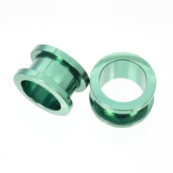 Pair of Anodized Metallic Green Screw Fit Plugs- Surgical Steel