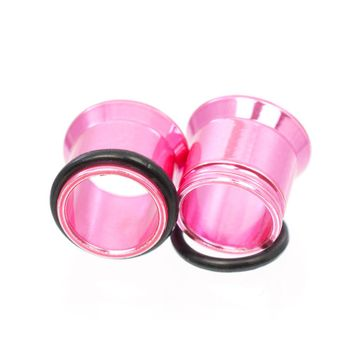 Pair of Anodized Metallic Pink O-Ring Tunnels- Surgical Steel