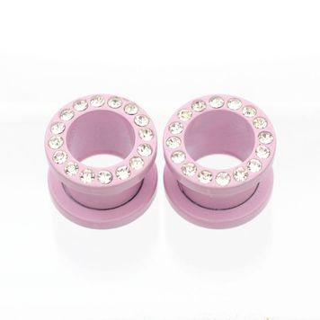 Pair of Matte Pastel Pink Screw Fit Cubic Zirconia Plugs- Surgical Steel