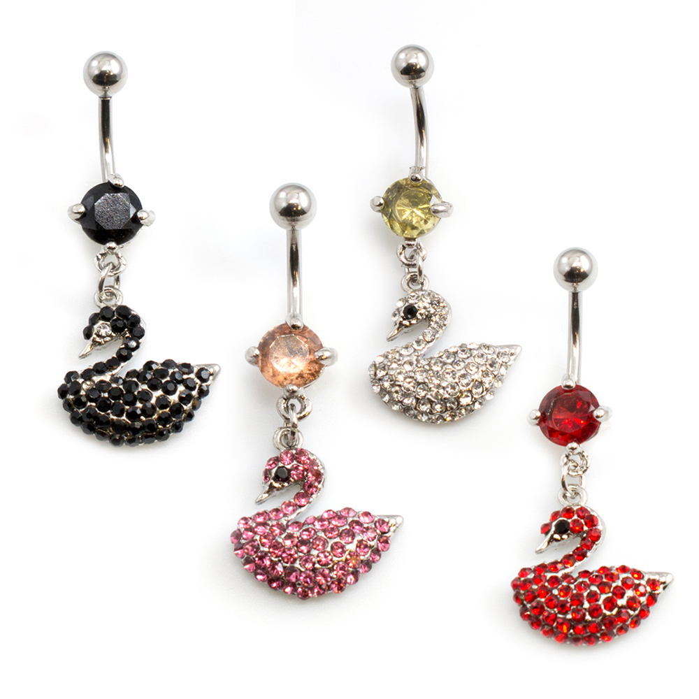 Multiple CZ Swan Designed Belly Button Ring 14ga 3/8 inches