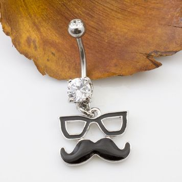 Glasses and Mustache Design Belly Button Ring with CZ 14g