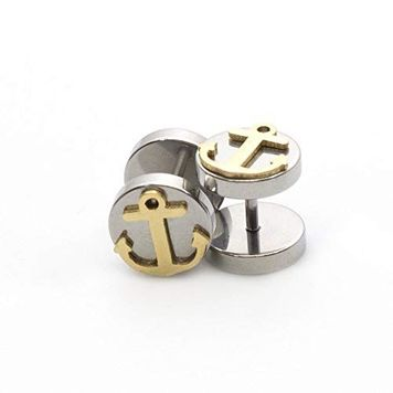 Pair of Fake Faux Cheater Illusion Ear Plug Earrings with Anchor Design 16ga