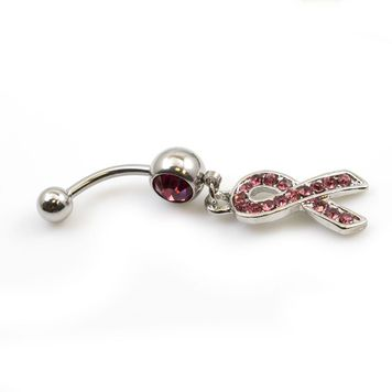 Cancer Awareness Belly Button Ring Dangle with Multiple CZ Stones 14ga