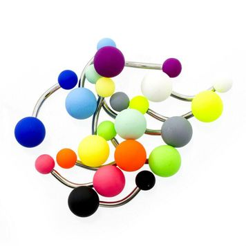 Pack of 12 Matte Colorful Acrylic Belly/Navel Button Rings 14ga