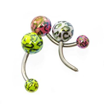 Pack of 5 Leopard Pattern Design Belly Button Rings 14ga