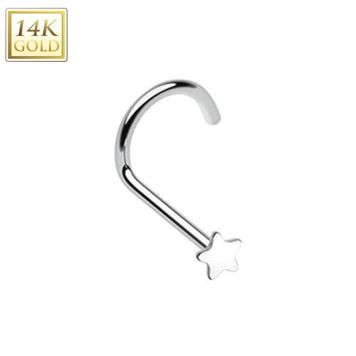 14Kt. White Gold Nose Screw Ring with 5 Point Star 20ga