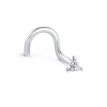 14Kt. White Gold Nose Screw Ring with Prong Set CZ Centered Triangle 20ga