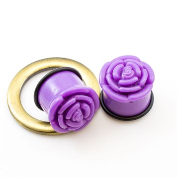 Pair of  Rose Design  Acrylic Ear Plugs with O ring