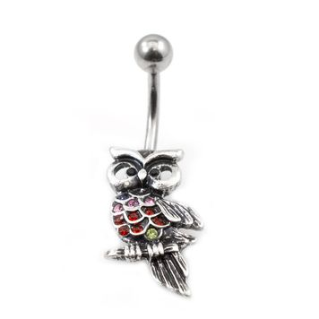 Belly Button Ring with Owl Design and multiple Cubic Zirconia Gems 14g