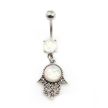 Hamsa Dangling Belly Button  Ring with Opal Glitter Gems 14ga