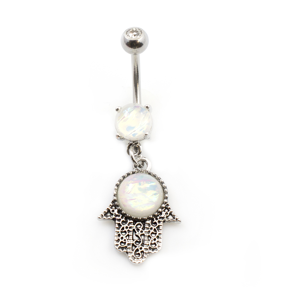 Rose Gold Belly Ring With Glitter Opal /& Jewelled Vintage Filigree Dangle