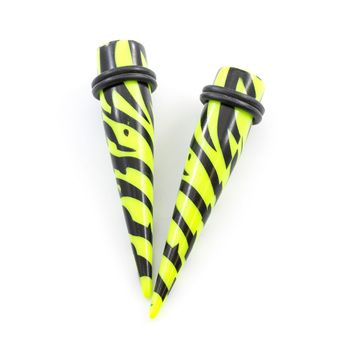 Pair of Acrylic Ear Tapers Zebra Green Pattern Design with O Rings- Multiple Sizes Available