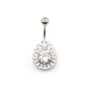 Tear Drop with Large CZ Belly Button Ring 14ga