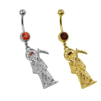 Pack 2 Grim Reaper Belly Button Rings Silver and Gold 316l Surgical Steel 14ga