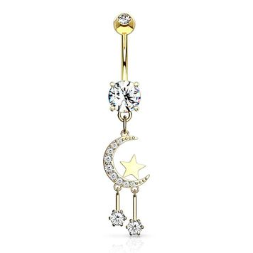 CZ Paved Crescent Moon and Star with Round CZ Dangle Surgical Steel Belly Button Ring