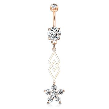 Six CZ Flower and Two Overlapping Diamonds Dangle Surgical Steel Belly Button Ring 14ga