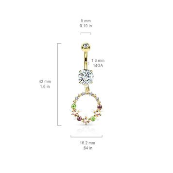 AB Crystal Flowers and Multi Colored Gems Set Circle Dangle Double Jeweled Surgical Steel Belly Button Ring 14ga