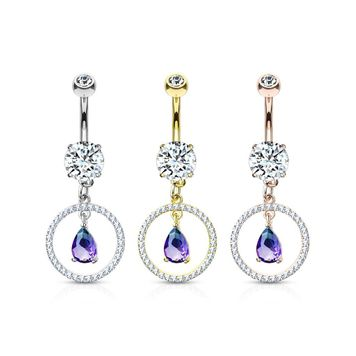 CZ Paved Circle with Pear Shaped Green and Blue Two Tone CZ Dangle Double Jeweled Belly Button Ring Surgical Steel 14ga
