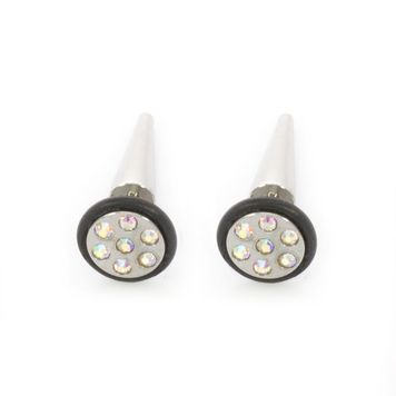 Pair of Faux Cheater Illusion Ear Plug Earrings with Multi-Gem Design 16ga