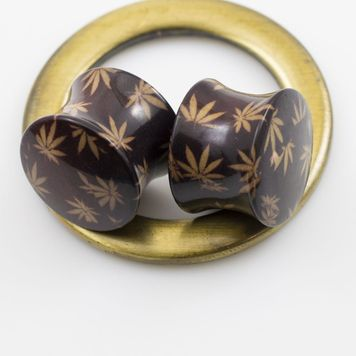 Pair of Double Flared Acrylic Brown Pot Leaf Design Plugs
