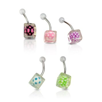 Belly Rings Surgical Steel Barbells with Acrylic Transparent Ball in Cube Assorted Colors- 5pk