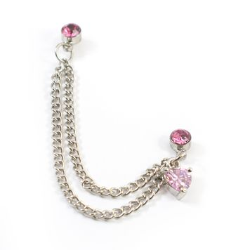 Double Pink Stud Earring with Chain and Dangling Pink Heart Charm 22ga