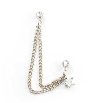 Double Clear Stud Earring with Chain and Dangling Clear Star Charm 22ga
