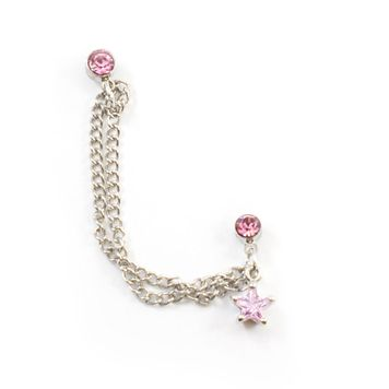 Double Pink Stud Earring with Chain and Dangling Pink Star Charm 22ga