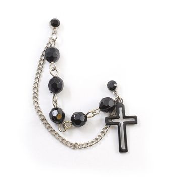 Double Black Stud Earring with Rosary Chain Like Black Beads and Dangling Black Cross Charm 22ga