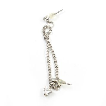 Double Clear Stud Earring with Chain and Dangling Clear Heart Charm 22ga