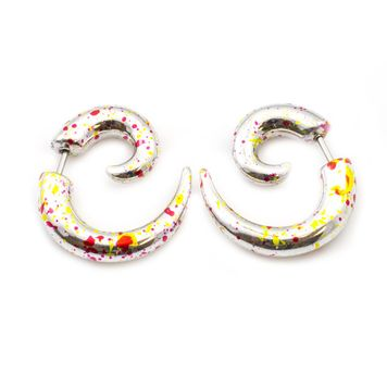 Faux Ear Tapers Spiral Design with Colorful Paint Splash 16ga