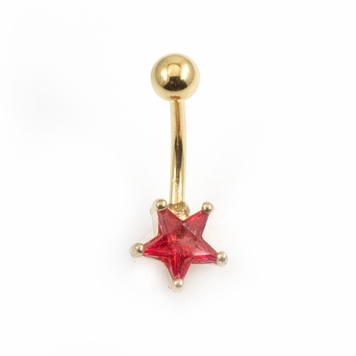 Star Prong Set CZ Design Belly Button Ring 14ga 3/8'