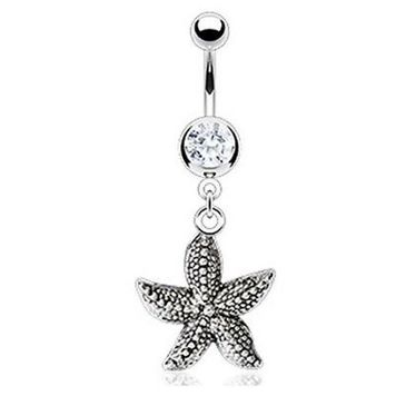 Antique Finish Starfish Dangle Belly Button Ring Surgical Steel 14ga