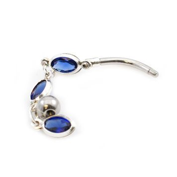 Multiple Blue Oval Cubic Zirconia Stones Dangle Design Belly Button Ring 14ga