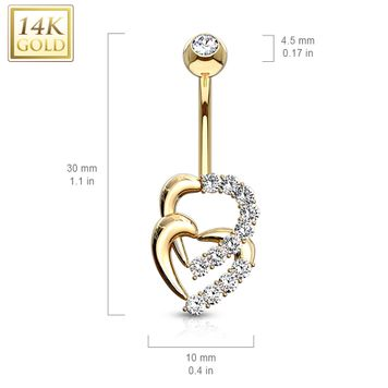 Navel Belly Ring  14 Karat Solid Gold Double Heart Multi CZ