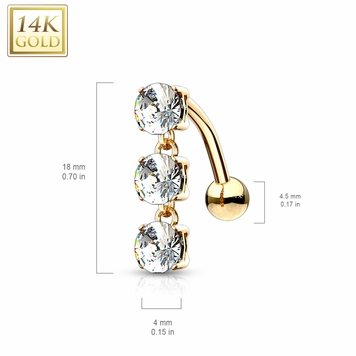 Navel Ring Belly 14 Karat Solid Gold Top Down Triple CZ Stones Dangle