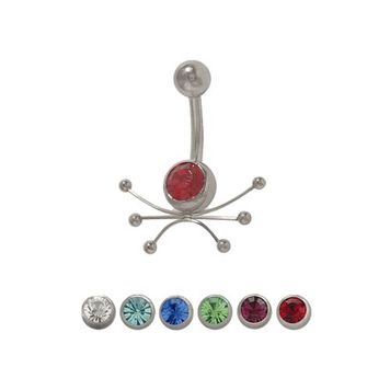 14g Navel Ring Steel with Jewel