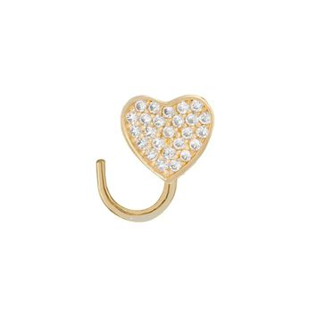 Nose Screw 14k Yellow Gold with CZ Paved Heart Design 22 Gauge